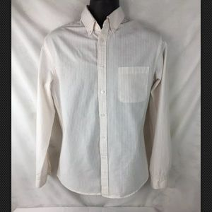 Men's Merona Button Up Pink/ White Strip Shirt M
